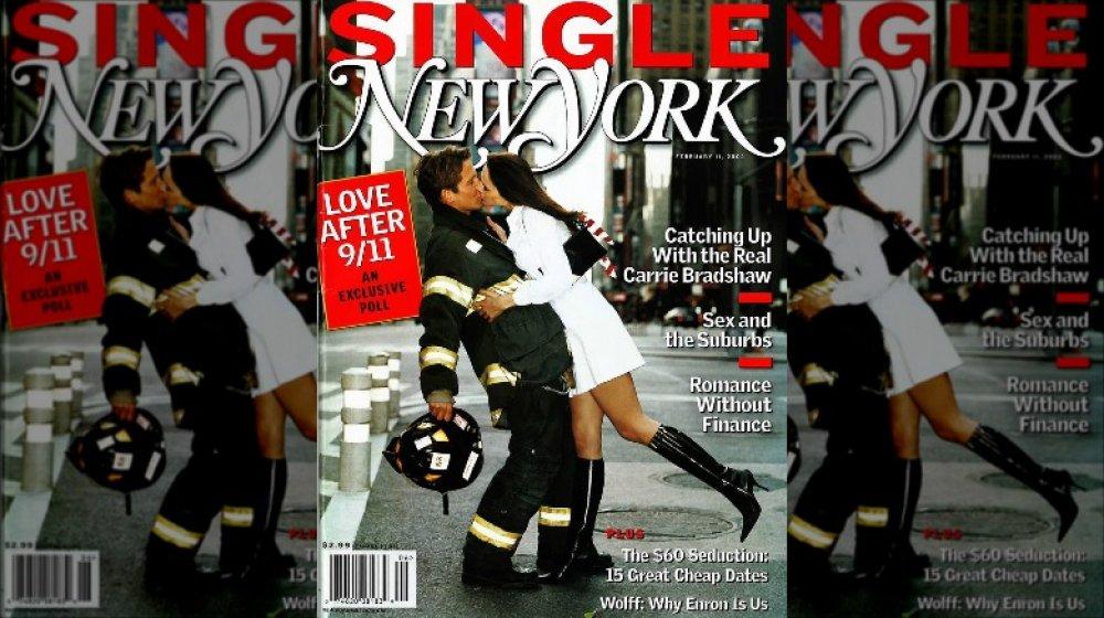 Melania Trump y un bombero en la portada de la revista New York