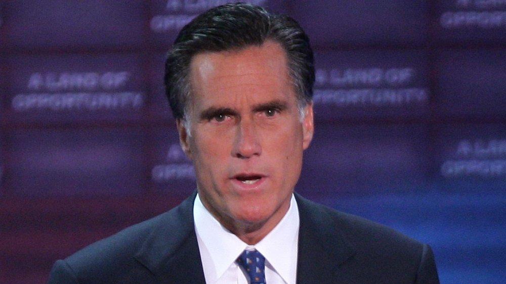 Mitt Romney dando un discurso en la Convención Nacional Republicana en 2004