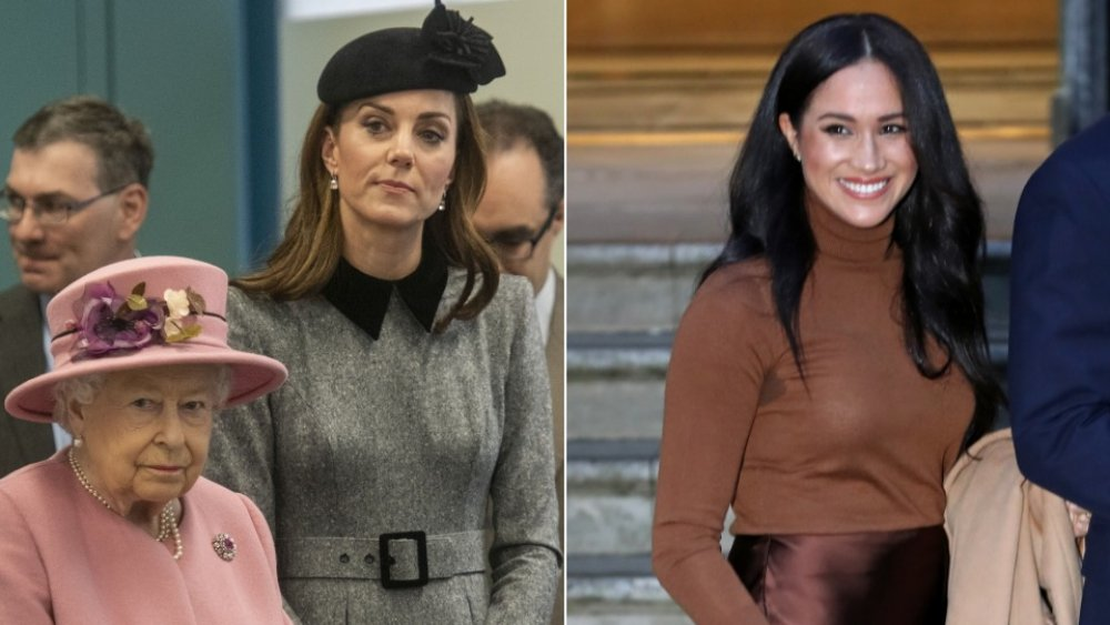 La reina, Kate Middleton, Meghan Markle