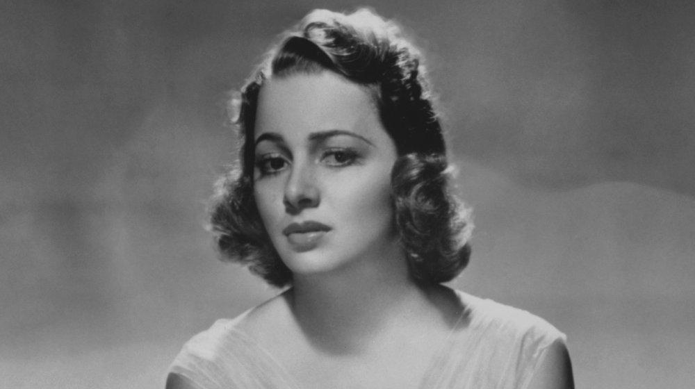 Foto en blanco y negro de Olivia de Havilland, tomada en 1938