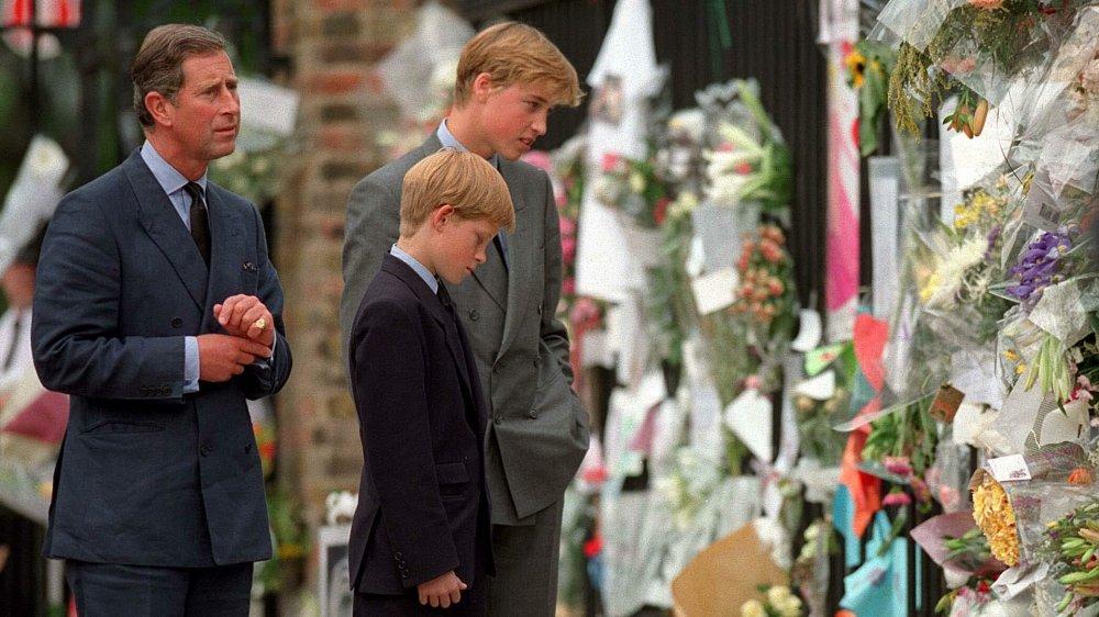 El príncipe Carlos, el príncipe Guillermo, el príncipe Harry llorando la muerte de la princesa Diana