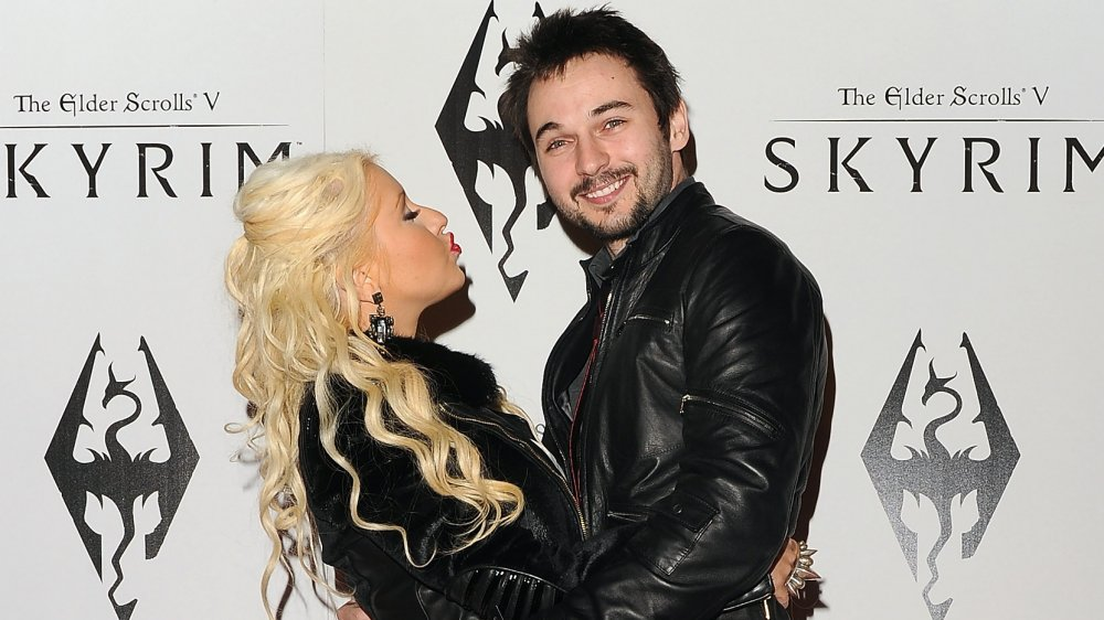 Christina Aguilera and Matthew Rutler at the launch party for The Elder Scrolls V: Skyrim