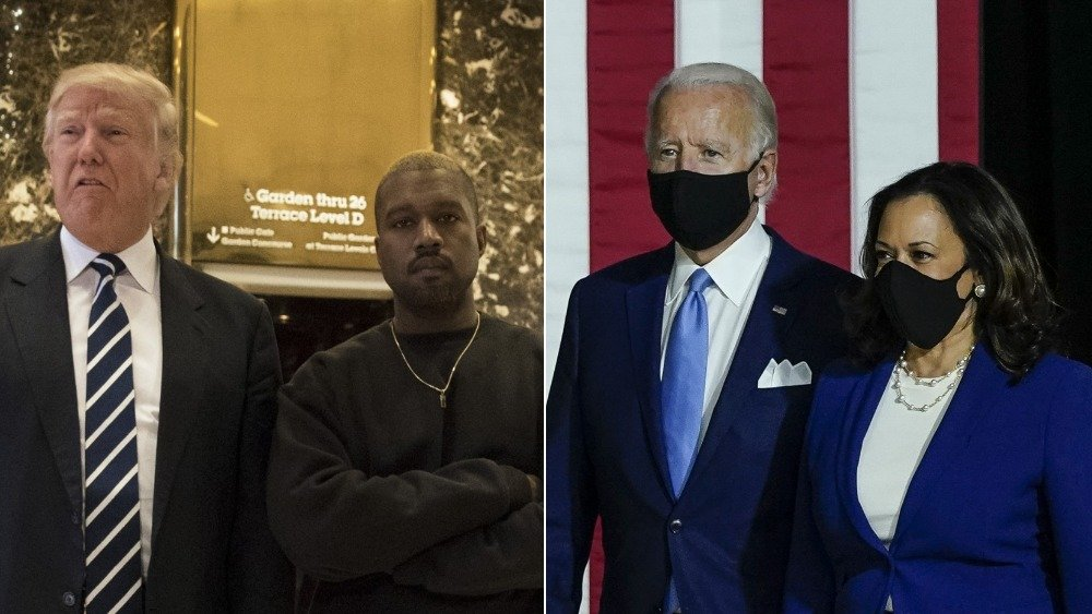 Donald Trump y Kanye West, Kamala Harris y joe Biden