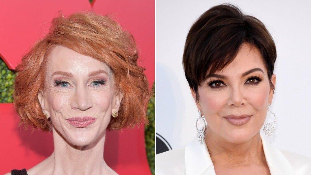 Imagen dividida de Kathy Griffin y Kris Jenner, ambos con pequeñas sonrisas