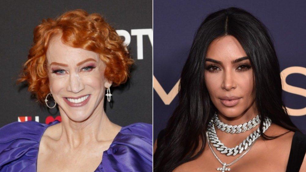 Imagen dividida de Kathy Griffin sonriendo y Kim Kardashian con una expresión seria