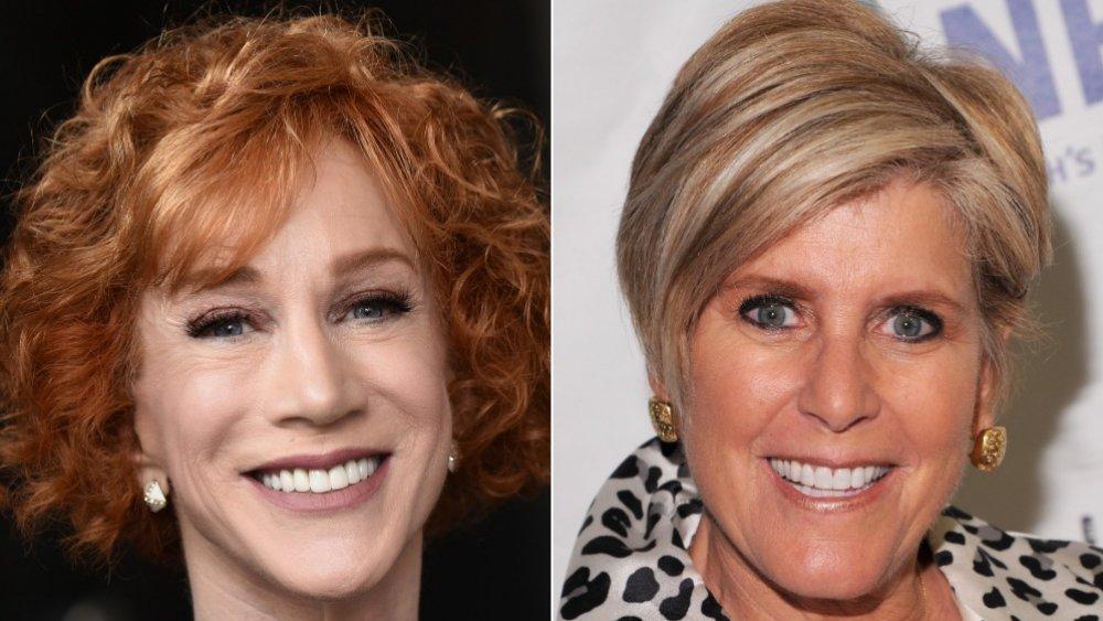 Imagen dividida de Kathy Griffin y Suze Orman, ambos sonriendo