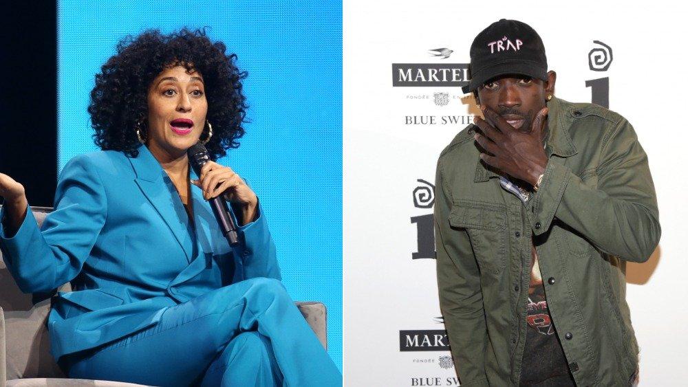 Imagen dividida de Tracee Ellis Ross sentado y hablando en un traje azul, Bu Thiam con una chaqueta verde y sombrero negro con una expresión sorprendida