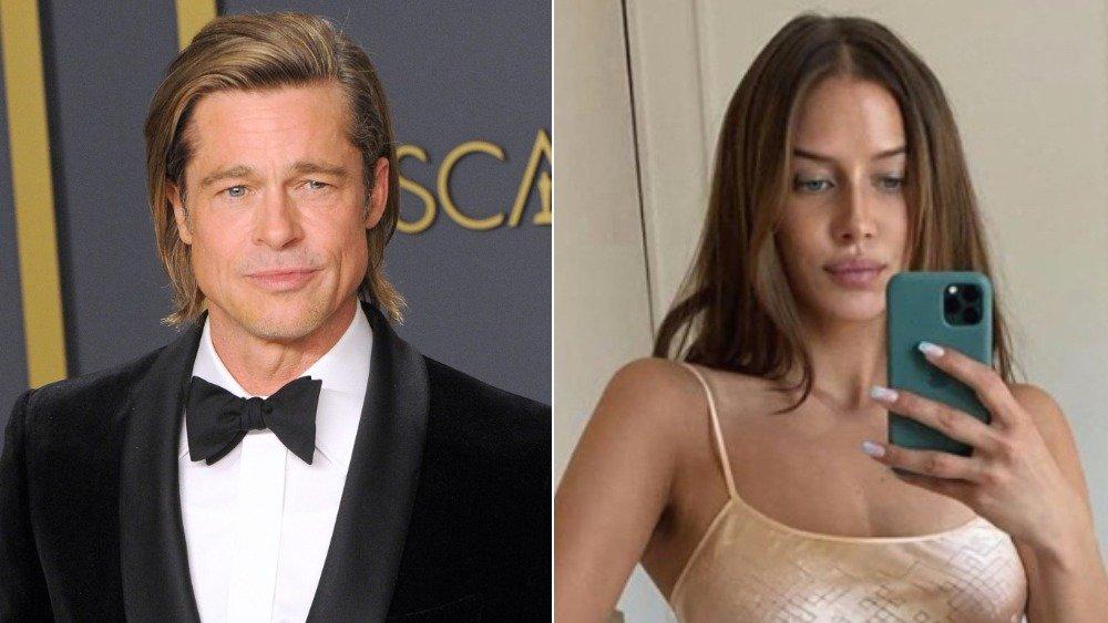 Brad Pitt posa con su Oscar, Nicole Poturalski