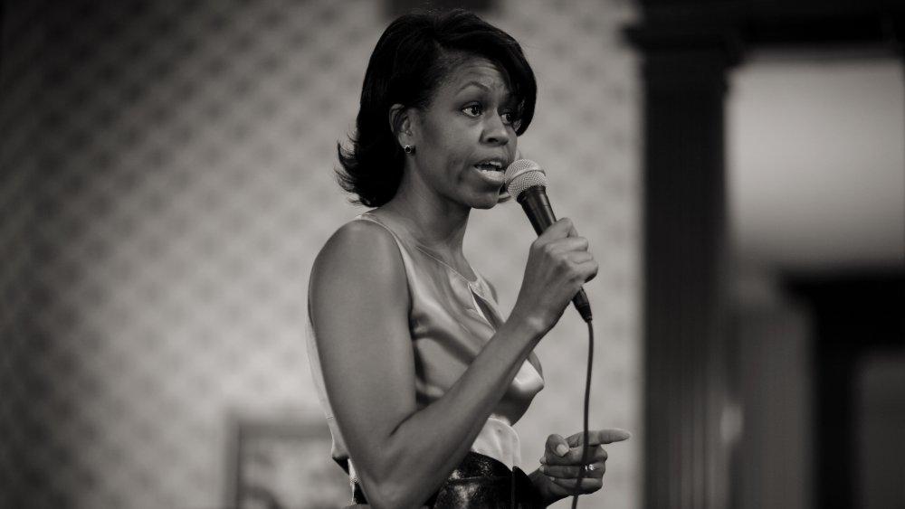 Michelle Obama hablando en un evento de campaña en 2007