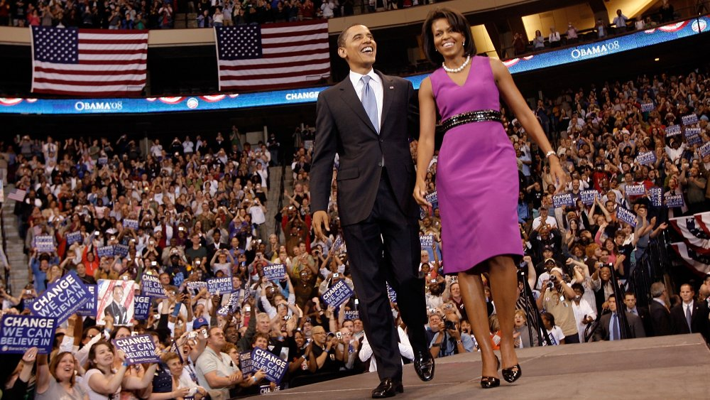 Barack Obama y Michelle Obama en un evento de campaña en junio de 2008