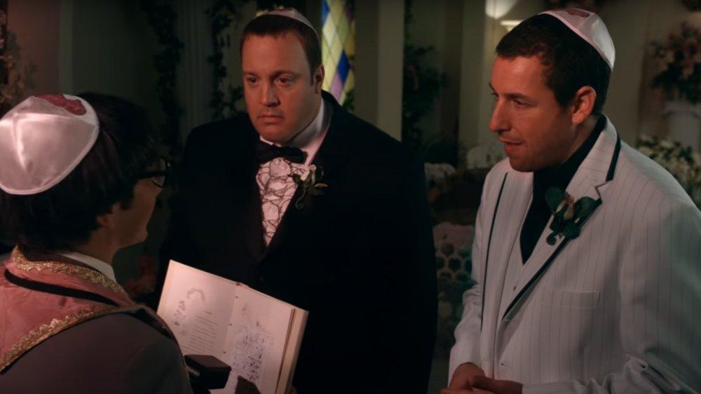 Rob Schneider, Kevin James y Adam Sandler en una escena de I Now Pronounce You Chuck y Larry