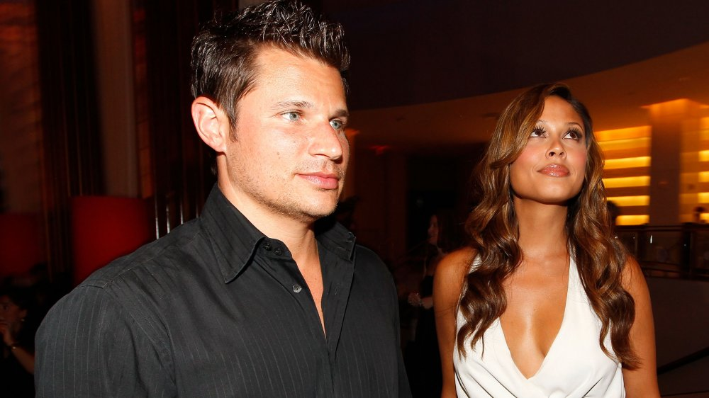 Nick Lachey y Vanessa Minnillo en Super Skins Kick Off Party en el Hotel 944 en 2010