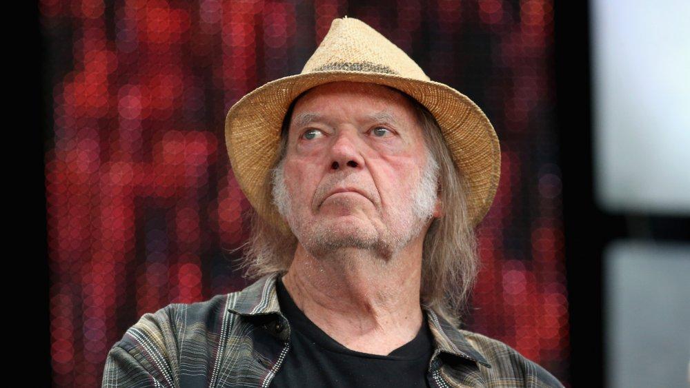 Neil Young en conferencia de prensa para Farm Aid 34 en 2019