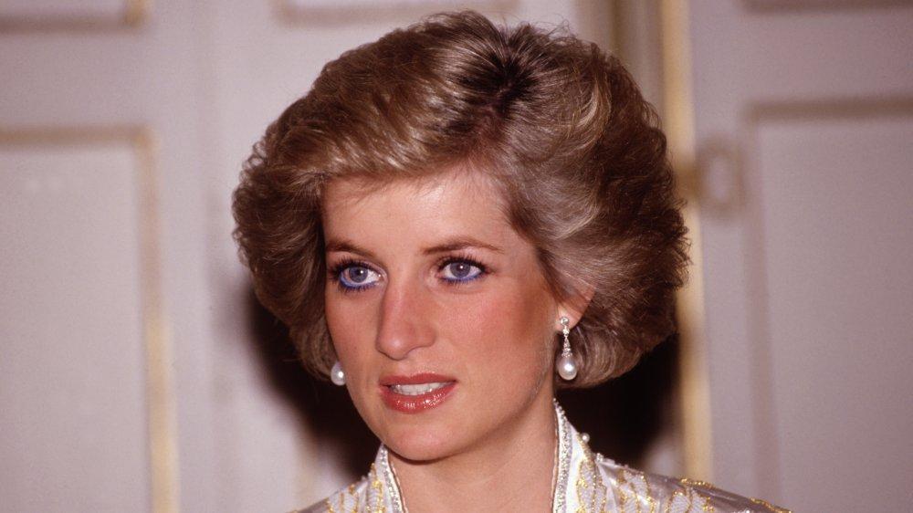 Princesa Diana en la cena dada por el presidente Mitterand en 1988