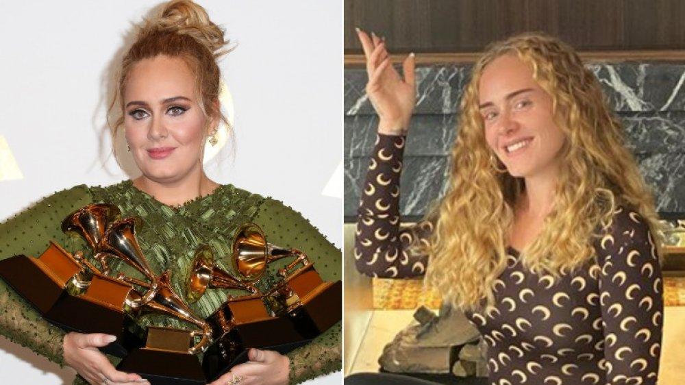Adele a la izquierda sosteniendo Grammys, posando y sonriendo a la derecha