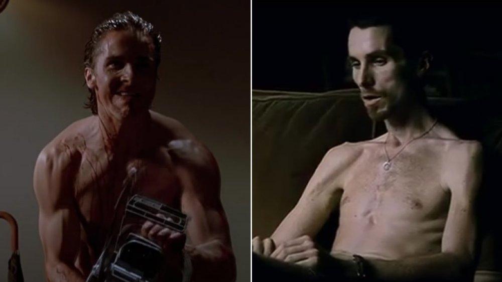 Christian Bale en American Psycho a la izquierda, Christian Bale en The Machinist a la derecha