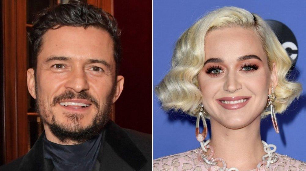 Orlando Bloom en una fiesta de Flaunt Magazine y Dunhill en 2019;  Katy Perry en el estreno de American Idol en 2020
