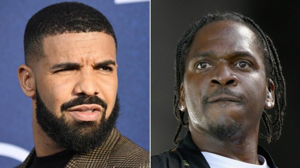 Drake luciendo enojado (izquierda), Pusha T luciendo intensa (derecha)