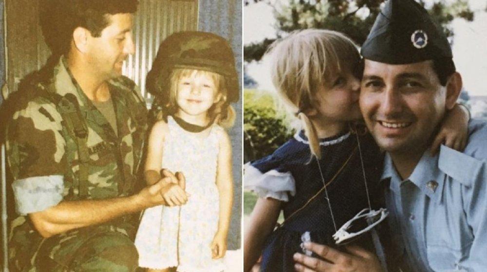 La joven Christina Aguilera con su padre