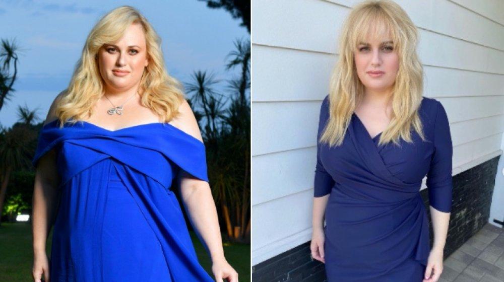 Izquierda: Rebel Wilson con vestido azul formal / Derecha: Rebel Wilson después de perder peso