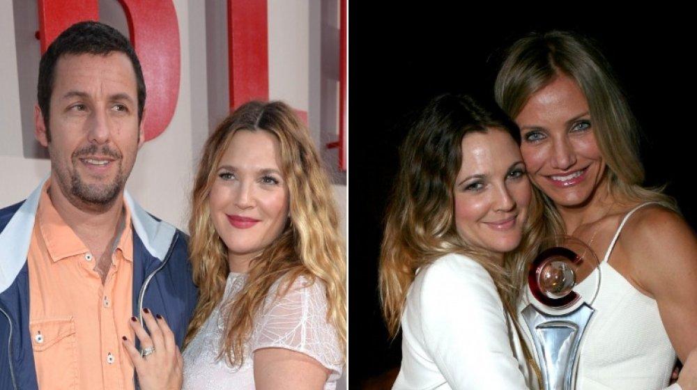Adam Sandler y Drew Barrymore en el estreno de Blended en 2014;  Drew Barrymore y Cameron Diaz en CinemaCon en 2011