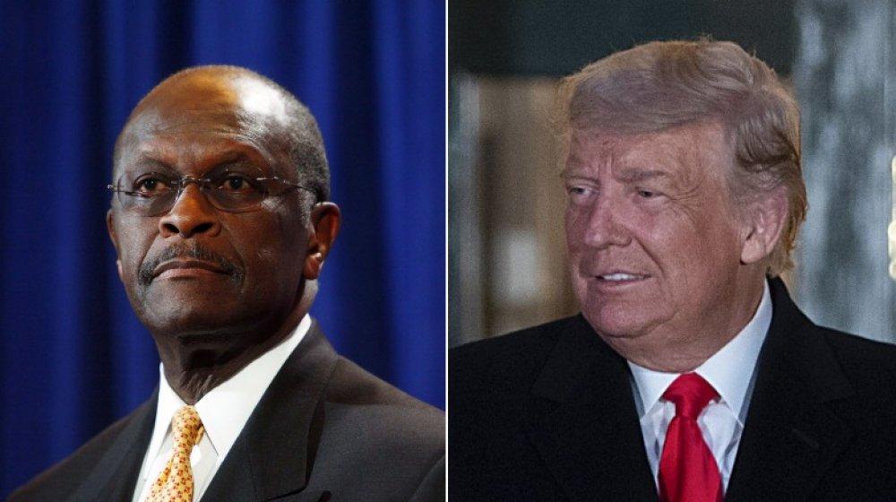 Herman Cain en una conferencia de prensa en 2011;  Donald Trump en la Casa Blanca en 2020
