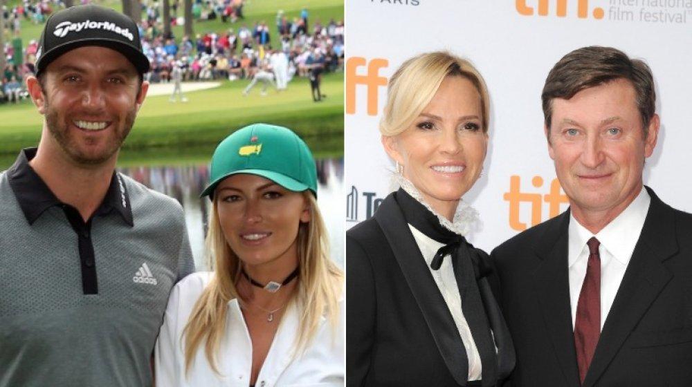 Dustin Johnson y Paulina Gretzky en el Torneo Masters 2016;  Janet Jones y Wayne Gretzky en 2014 TIFF