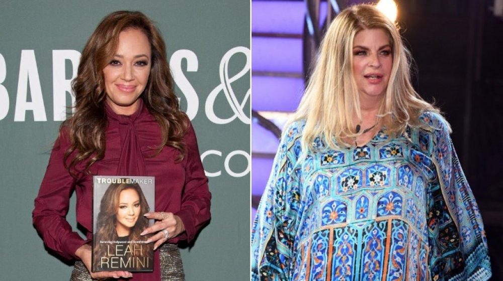 Leah Remini en el evento del libro en 2015;  Kirstie Alley en la final de Celebrity Big Brother en 2018