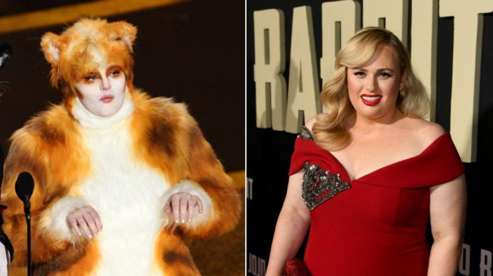 Rebel Wilson con su disfraz de Cats (izquierda), Rebel Wilson en el estreno de JoJo Rabbit (derecha)