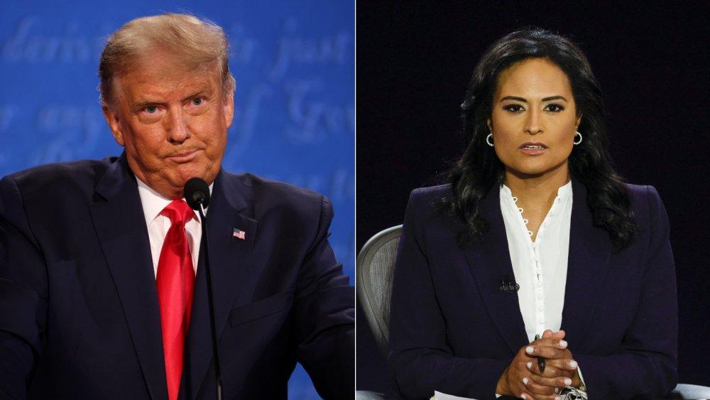 Donald Trump y Kristen Welker en el debate presidencial final