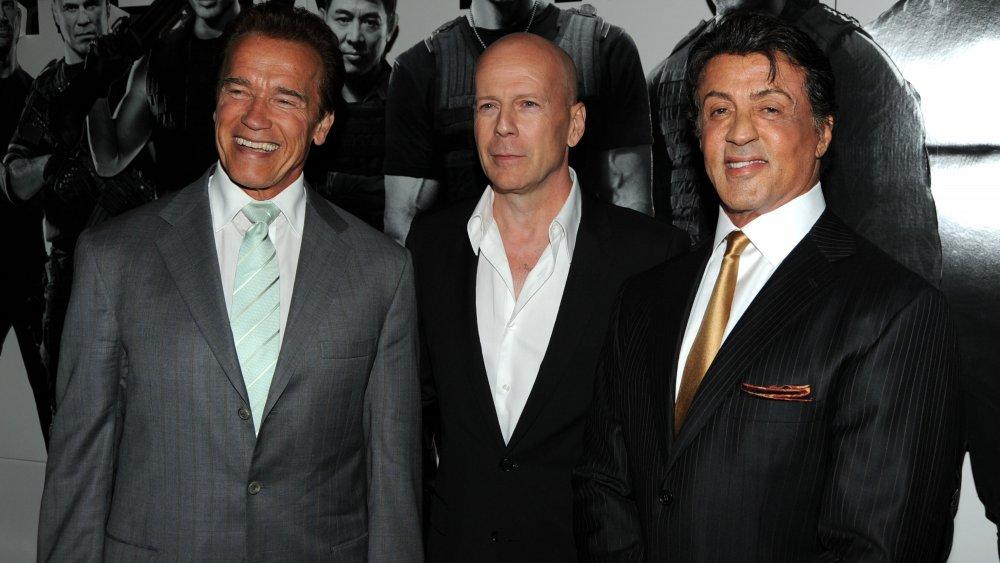 Arnold Schwarzenegger, Bruce Willis y Sylvester Stallone en el estreno de The Expendables en 2010