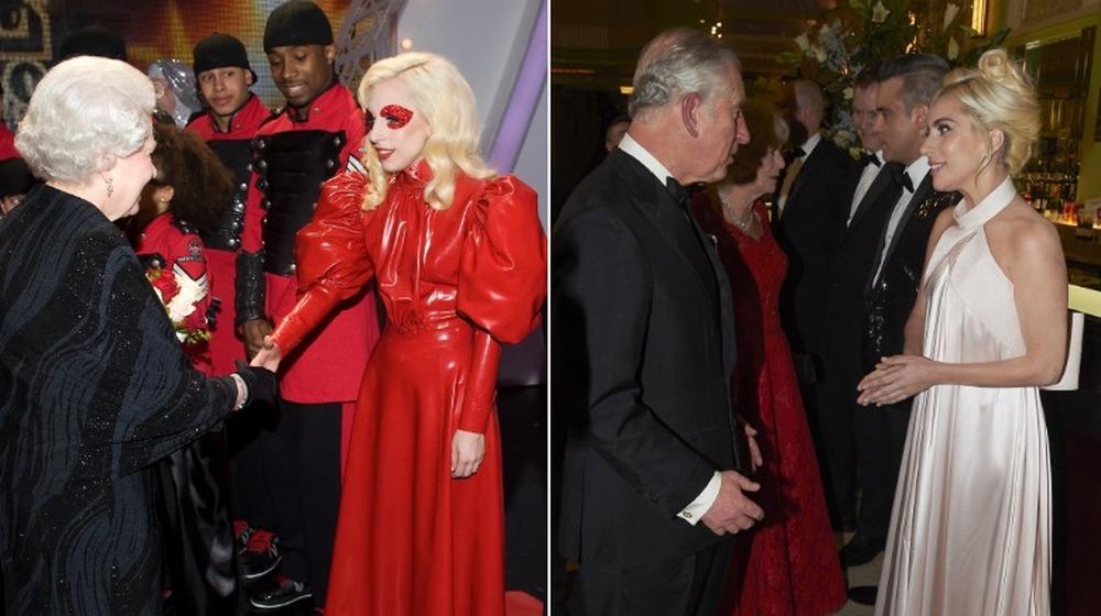La reina Isabel y Lady Gaga;  Príncipe Carlos y Lady Gaga