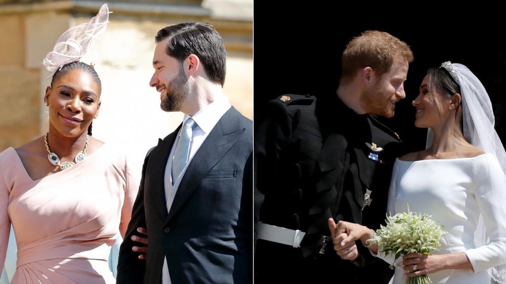Serena Williams y Alexis Ohanian y el príncipe Harry y Meghan Markle en su boda