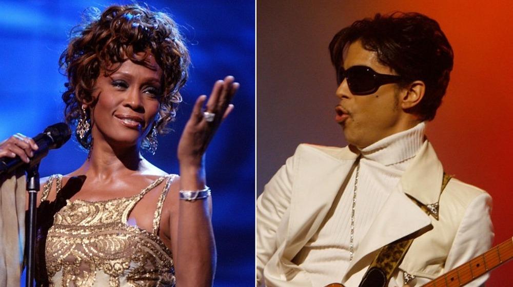 Whitney Houston sonriendo, Prince sosteniendo la guitarra