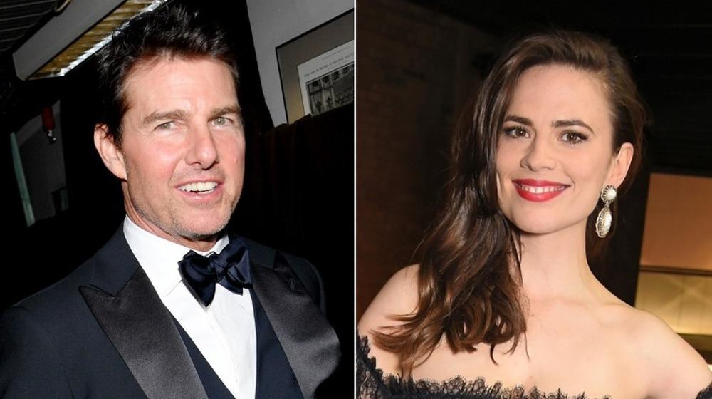Imagen dividida de Tom Cruise y Hayley Atwell