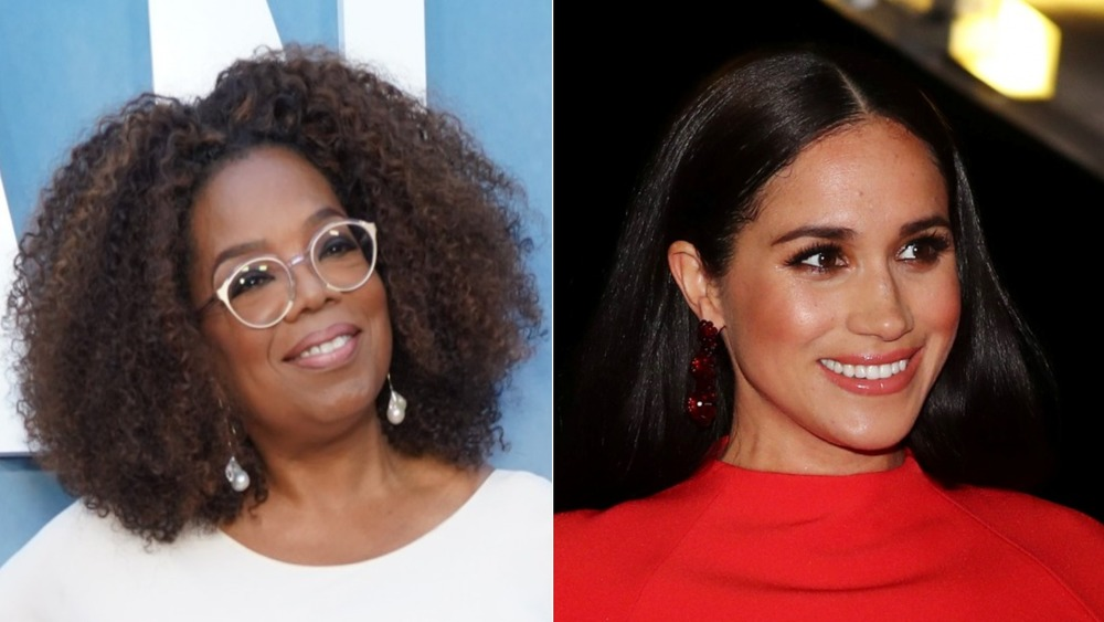 Meghan Markle y Oprah Winfrey sonriendo