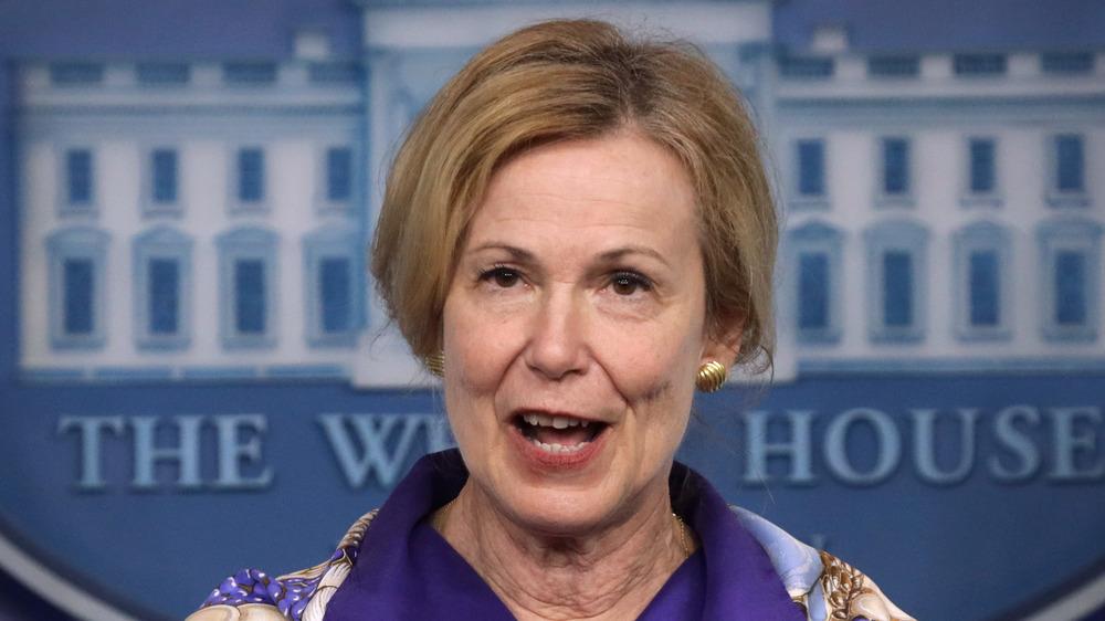 Dr. Deborah Birx hablando en la sesión informativa de la Casa Blanca