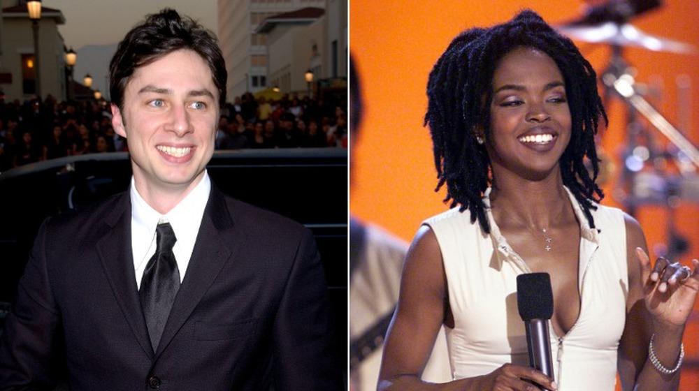 Zach Braff y Lauryn Hill sonriendo