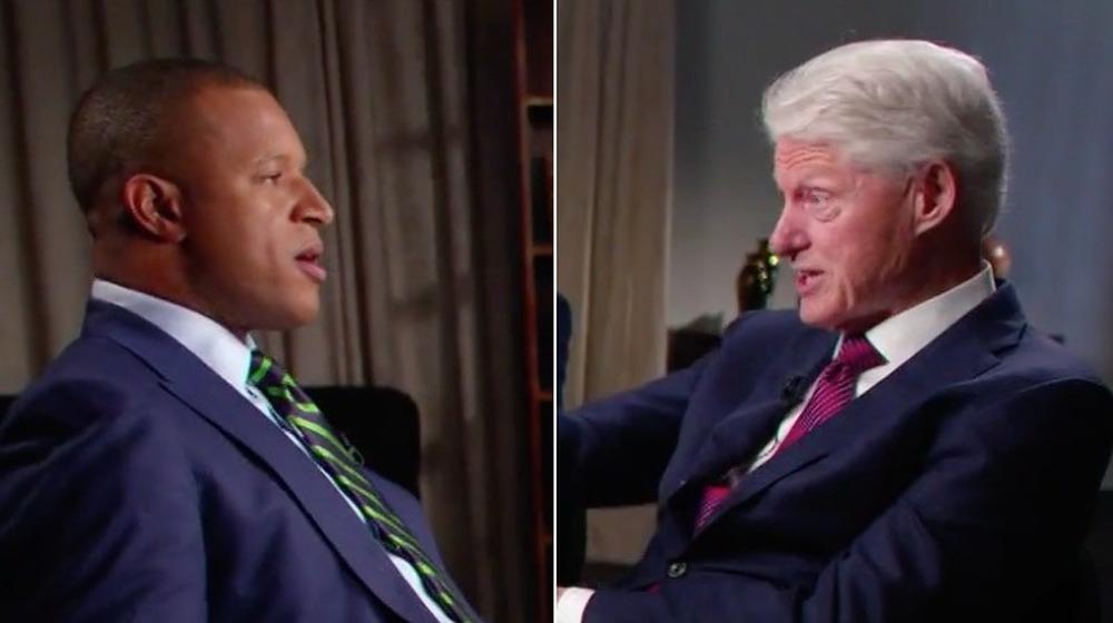 Craig Melvin y Bill Clinton;  imagen dividida