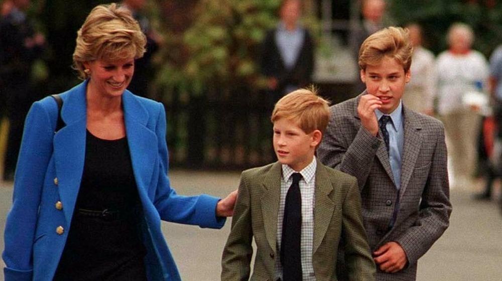 La princesa Diana, el príncipe Harry y el príncipe William caminando juntos