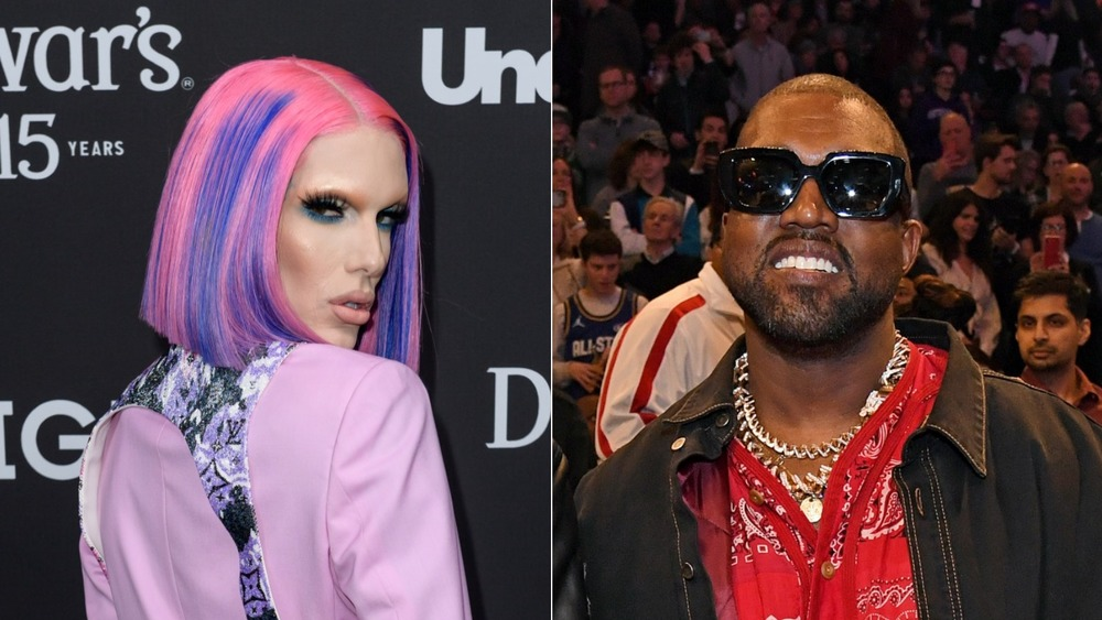 Jeffree Star luciendo serio y Kanye West sonriendo