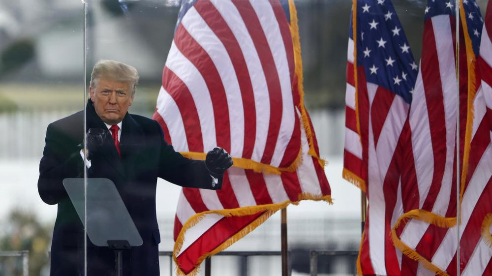 Donald Trump antes de disturbios en Capitol Hill