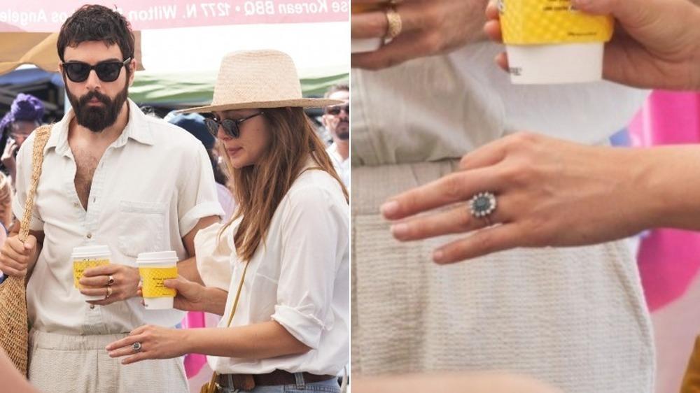 Robbie Arnett y Elizabeth Olsen en un mercado de agricultores (izquierda), detalle del anillo de compromiso de Elizabeth Olsen (derecha)