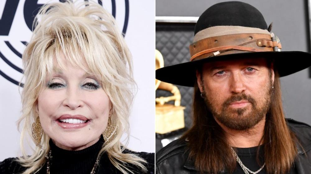 Dolly Parton y Billy Ray Cyrus posando en la alfombra roja en imagen dividida