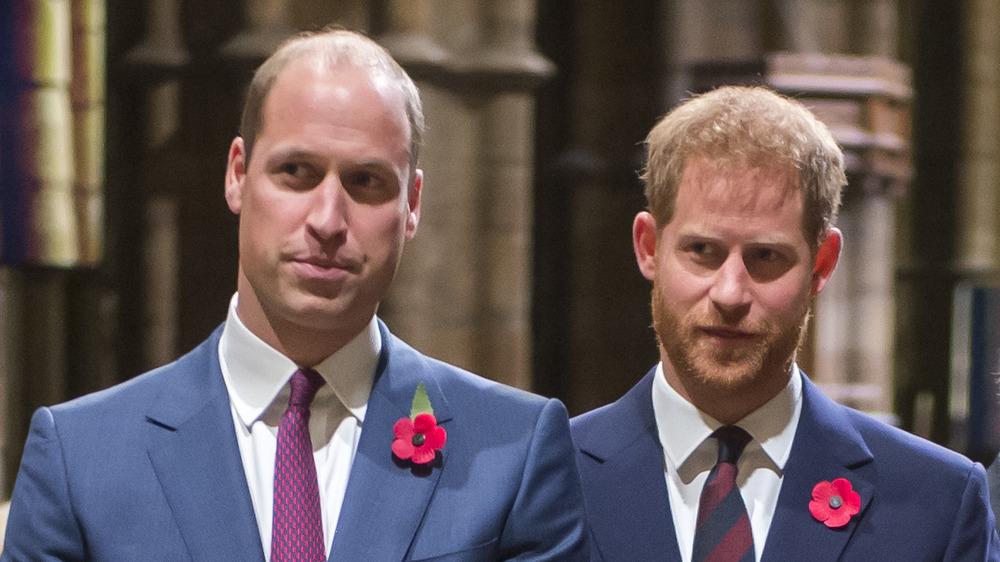 El príncipe William y el príncipe Harry parados uno al lado del otro