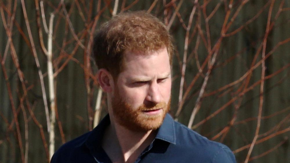 Príncipe Harry afuera y caminando