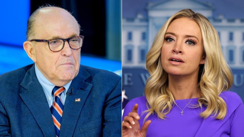 Imagen dividida de Rudy Giuliani y Kayleigh McEnany luciendo serios