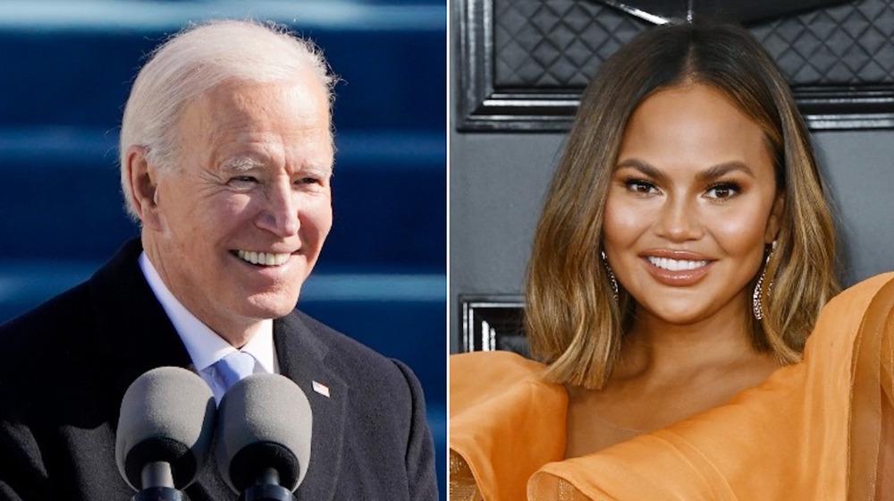 Joe Biden y Chrissy Teigen lado a lado