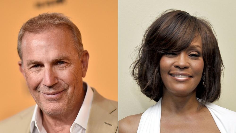 Kevin Costner y Whitney Houston sonriendo