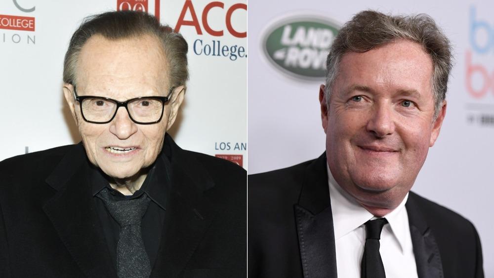 Larry King y Piers Morgan posando en imagen dividida